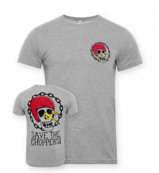 Save The Choppers! Skull Flasher – T-Shirt Grau
