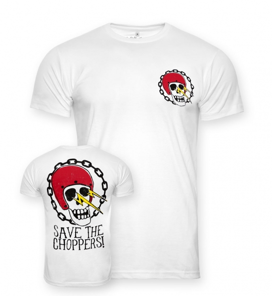 Save The Choppers! Skull Flasher – T-Shirt Weiss